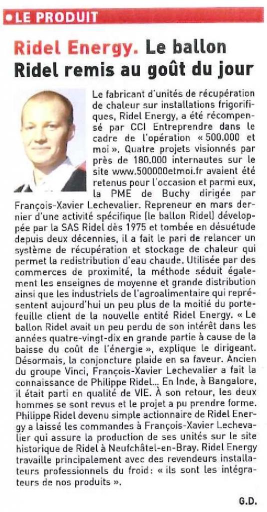 Ridel Energy LE JOURNAL DES ENTREPRISES JANV 2013