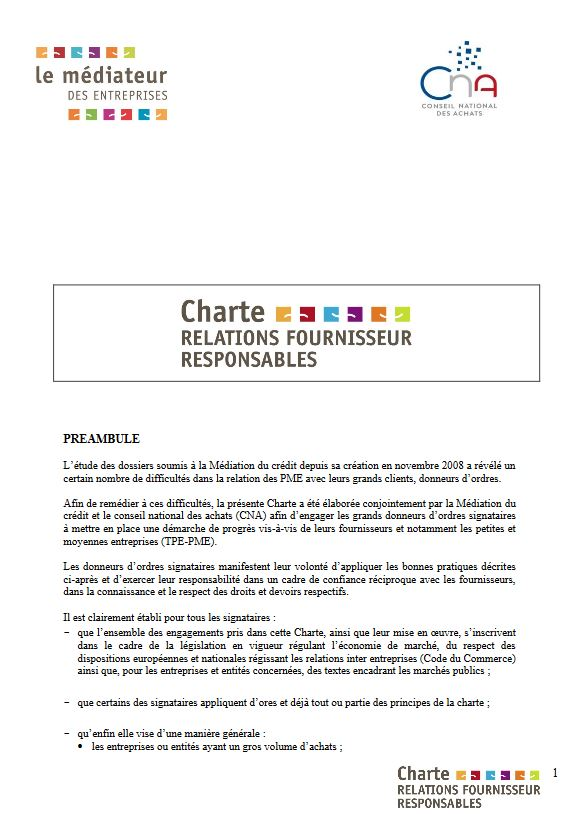 Charte Relations Fournisseurs Responsables Ridel Energy